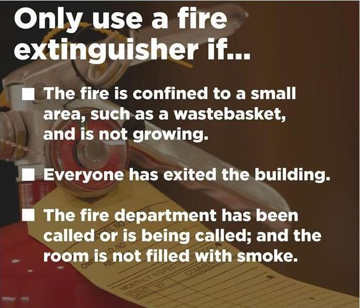 Fire extinguisher in the background with safety tips printed.
