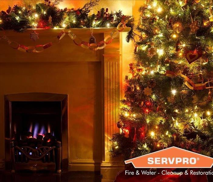 Fire place and tree with Christmas decorations.