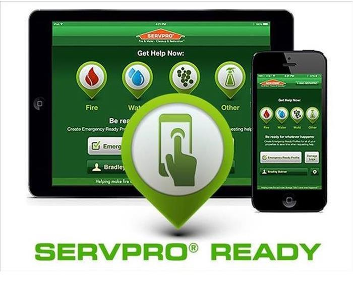 Three digital devices showing the SERVPRO Ready APP.